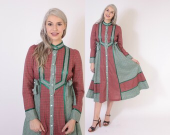 Vintage 70s GUNNE SAX DRESS / 1970s Plaid & Floral Cotton Holiday Dress S - M