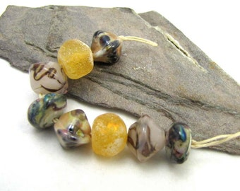 Crusty Rustic Dichroic and Shiny Squished Crystal, Ronelles and Bicone Bead Set of Eight (8)