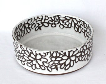 Bowl , Flat Bottom , White Modern Floral
