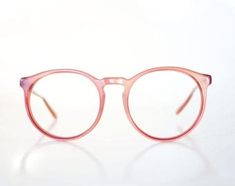 ON SALE Round P3 Eyeglasses Metallic Pink Mauve Dusty Rose 1980s 80s Preppy Glasses Women Ladies Geek Chic Nerdy Deadstock Nos Brand New