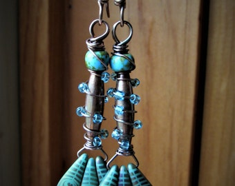 Copper Wrapped Rainbow Feather Beaded Dangle Earrings - Copper Spikes - BOHO jewelry - Copper Jewelry - Iridescent Dagger Beads