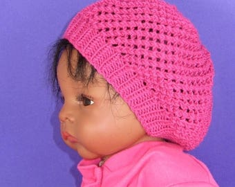 50% OFF SALE Digital pdf file knitting pattern - Baby Simple Lacey Tam Slouch Hat  pdf download knitting pattern