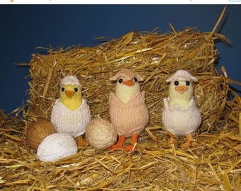 50% OFF SALE Instant Digital File PDF Download Easter knitting pattern -  Cheeky Chicks In Shell Suits Toy pdf knitting pattern