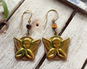 NEW! Tiger's Eye And Distressed Brass Namaste Angel Earrings