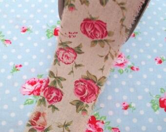Floral Rose Vintage Style Ribbon - 2 1/2 inch - 1 Yard