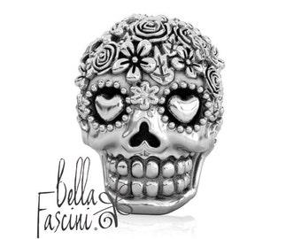 Sugar Skull Dia de los Muertos Bead Charm - Flower Bouquet – 925 Silver - Fits Pandora and Compatible Brand Bracelets - BELLA FASCINI® F-118