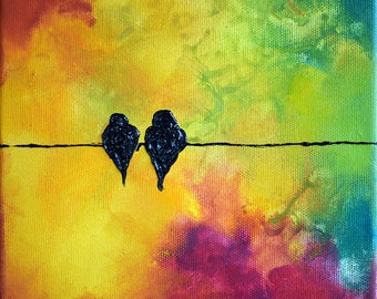 Original Oil Painting Birds on a Wire Modern Colorful Abstract Painting 8x8""