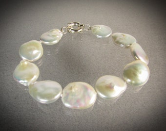 White coin cultured pearls 925 silver bracelet /white pearls/gift for her/June birthstone jewelry/Bridal bracelet/Wedding jewelry 0201201701