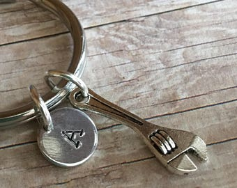 Wrench Keychain,Wrench charm,Gift for her,Gift for Him,Gift,Handyman Keychain,Initial Keychain,Hand stamped,Monogram