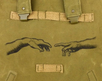 Canvas Military Messenger Bag. Creation of Adam / Hand of God / Michelangelo. Hand Painted.
