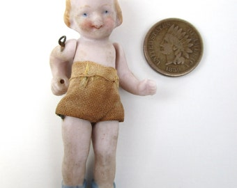 Tiny Antique Vintage Jointed Bisque Doll Original Clothing TOO Cute