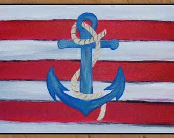 Nautical anchor and rope indoor-outdoor Floor Mat. Available in 4 sizes