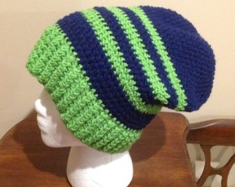 Navy Blue and Neon Green Slouchy Hat/Beanie