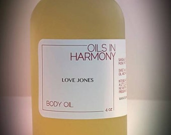 Body Oils - Moisturizer LOVE JONES- (Sensual and Aromatic...) Frosted 4 oz. Glass Bottle