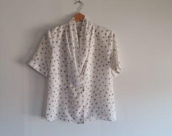 womens vintage white secretary blouse // size small // white with black polka dots // vintage 1970's