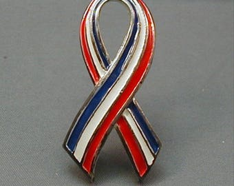 Vintage Red White and Blue Ribbon Pin Patriotic