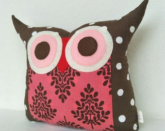 holiday gift /Brown /for her/ Polyfil Stuffed  Raspberry Trees Owl Pillow /ready to ship