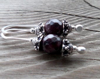 Genuine Garnet Fine Silver Dangle Handmade Earrings