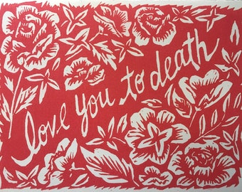 Love You to Death Block Print Card