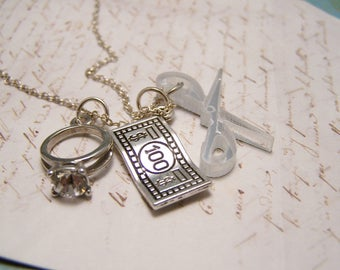 Rock Paper Scissors Necklace. Funny, Sassy. Nerdy