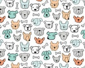 DOG LOVERS by Clothworks Fabrics - White Dog Heads & Bones # Y1997-01 - Dog Quilt Fabric - By the Yard - Puppy fabric