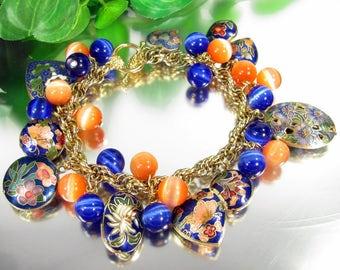 OOAK CLOISONNE CHARM Bracelet Orange Blue Butterfly Floral Heart Locket Vtg Bead