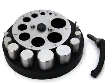 "Very Large Disc Cutter 1/8"" To 1 1/4"" With 10  Punches In Rubber Base"
