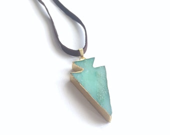 Jade Arrow Pendant Leather Necklace