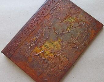 Refillable Journal Handmade Rust 7x5 Original textured distressed asian text