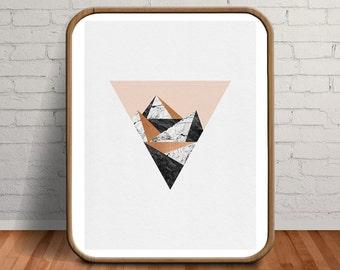 Large Wall Art, 16x20 Print, Large Artwork, Blush, Geometric Print, Geometric, Apartment Decor, Printable Artwork, Marble, Room Decor