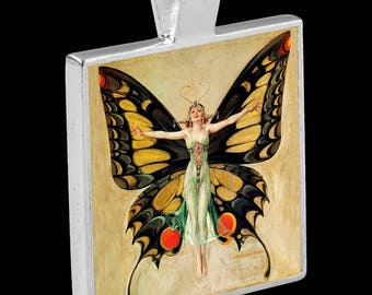 "Silver Pendant with Necklace - featuring ""The Flapper""  (illustration by F.X. Leyendecker - 1922)"