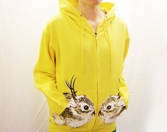 Baby Jackalope hoodie - one of a kind eco screenprint on neon yellow cotton fleece zip hooded sweatshirt - Unisex Small / women's Medium