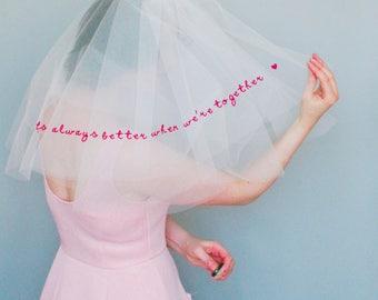 Custom quote veil - words on a veil - alternative wedding veil - wedding quote veil - song