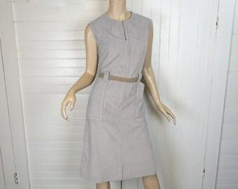 60s Mod Shift Dress in Gray- Moleskin Fabric- Futuristic / Minimalist- Medium