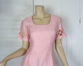 60s Mod Pink Dress with Cutouts- 1960s Pleated Mini Dress- Small / Medium