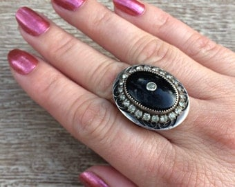 Reserved for Theresita-Vintage Art Deco Ring Onyx Vintage Sterling Silver