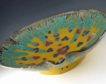Large Decorative Yellow Ceramic Serving Bowl - Porcelain Large Wall Art - Persian Flower Bowl - 260