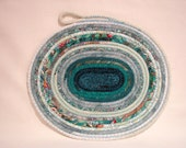 Teal We Meet Again Coiled Fabric Table Mat, Candle Mat