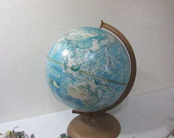 World Globe Rand McNally 12 Inch Relief Map Mountains are Raised