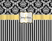 Custom Personalized Damask & Stripe Shower Curtain - available in standard size and custom cut and sew