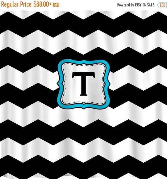 ON SALE Personalized Shower Curtain -THICK Black & White Chevron -Accent in any color
