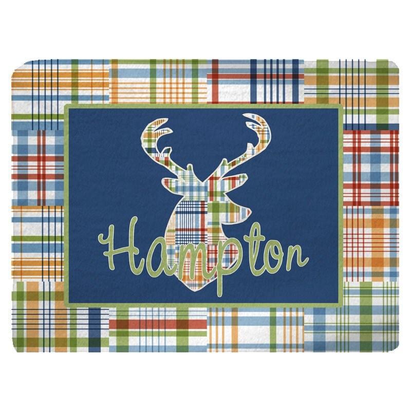 Boys Madras Deer Head Theme Rug Size 48x36 96x44 96x60