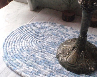 Grayish Blue, Off White and Silver Metallic Coiled Table Mat, Hot Pad, Trivet - OVAL - Neutral Colors, Handmade by Me