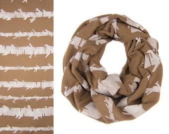 Birch Stripe Infinity Scarf - Hand Printed Sweatshirt Fleece Circle Scarf in Rust and White Q