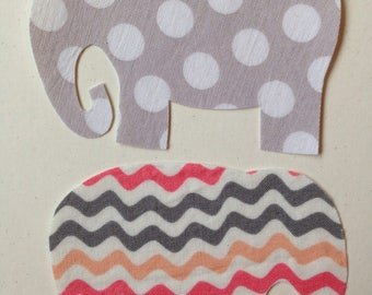 2 Fabric Iron On Elephant Appliques
