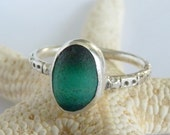 Green Sea Glass Multi & Sterling Ring - Genuine English Seaglass - Size 8-1/4+  EMERALD CITY