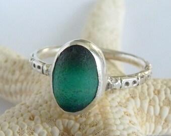 Green Sea Glass Multi & Sterling Ring - Genuine English Seaglass - Size 8-1/4+  EMERALD CITY