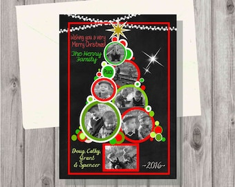 DIGITAL Red & Green Chalkboard Christmas Tree Greeting Photo Card include 3 to 7 photos