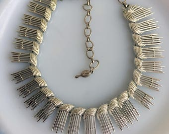 """Vintage Sarah Coventry """"Simply Elegant"""" Silver Choker Statement Necklace Spikes"""