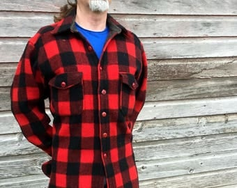 Vintage Woolrich 53 XXL Wool Jacket Buffalo Plaid 50s 60s Red Black Hunting